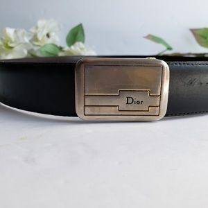 Vintage Christian Dior Brass and Leather Belt